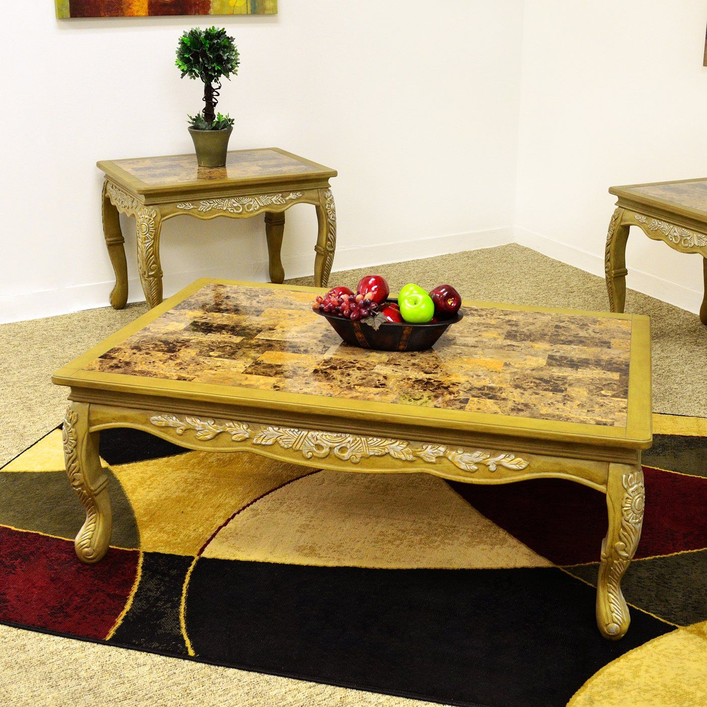 Hello kitty dining room  Royal Manufacturing R Coffee Table with Marble Top  Books