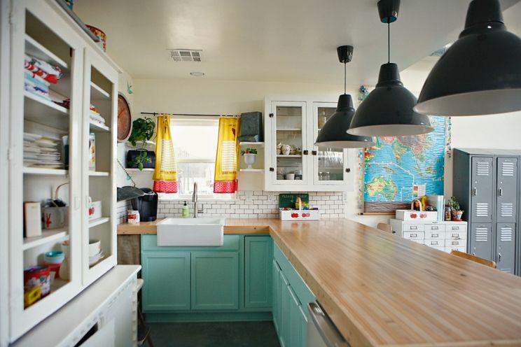Ashley Ann Campbellu0027s Fake Kitchen. Farmhouse Sink, Bowling Lane Counters,  Aqua Cabinets, Subway Tile And Big Pendant Lights. Inspiration.