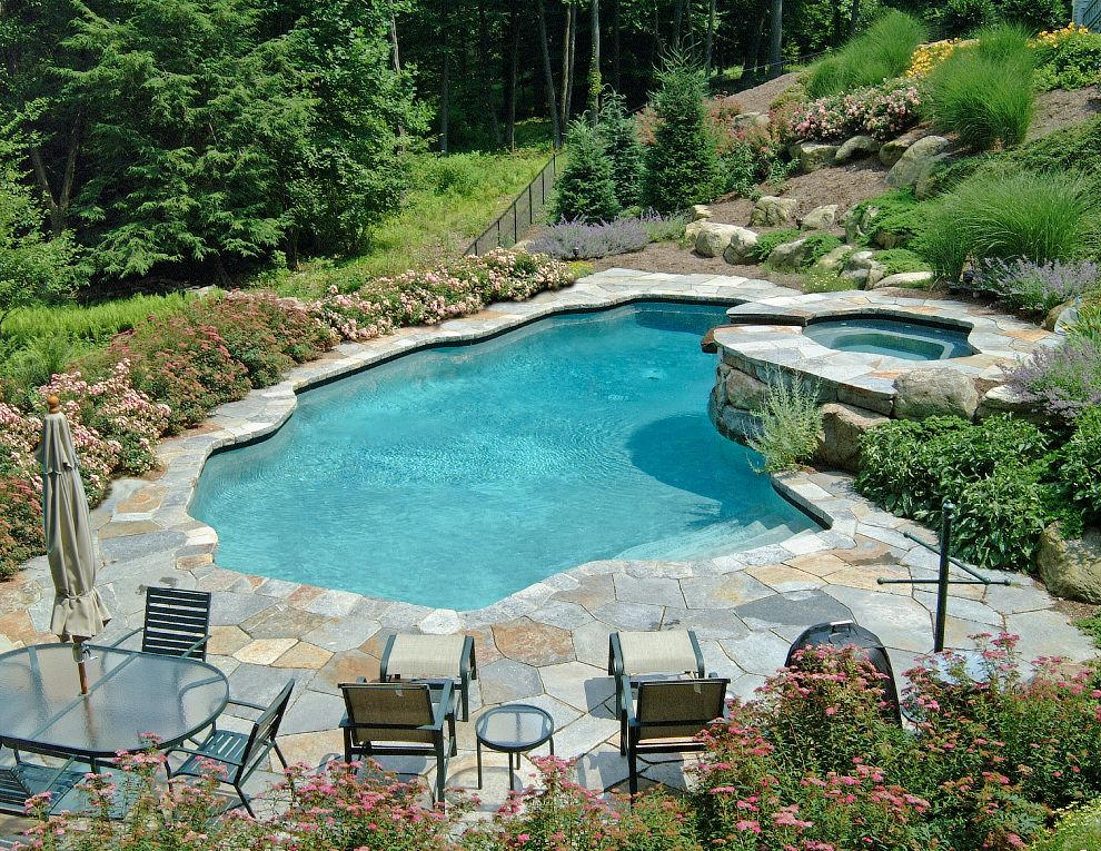 Pools on a downhill slope google search backyard ideas for Pool design for sloped yard
