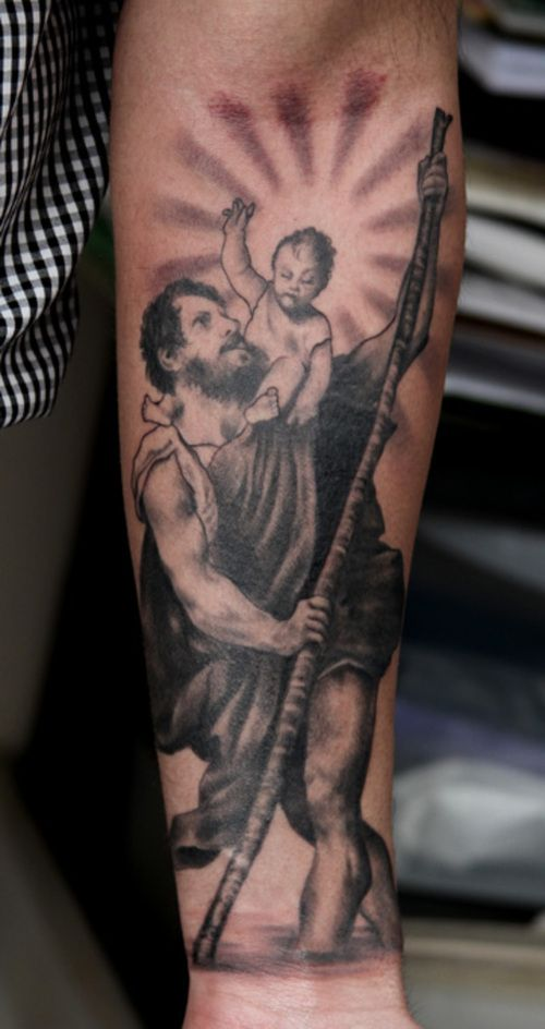 the 25 best st christopher tattoo ideas on pinterest holy tattoos jun cha tattoo and st. Black Bedroom Furniture Sets. Home Design Ideas