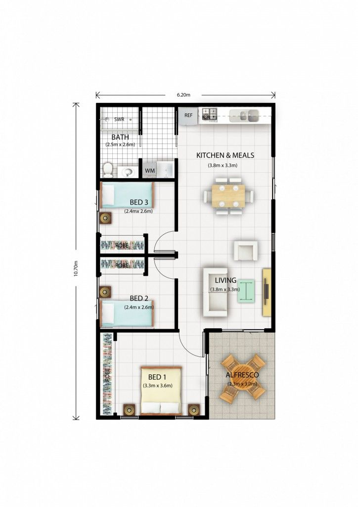 This 60sqm 3 bedroom each with built ins granny flat is for Granny flats floor plans