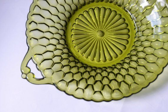 HOLD FOR NINA Indiana Glass Olive Green Honeycomb Candy Dish Serving Bowl #honeycombcandy INDIANA GLASS Olive Green Honeycomb Candy Dish Serving Bowl #honeycombcandy
