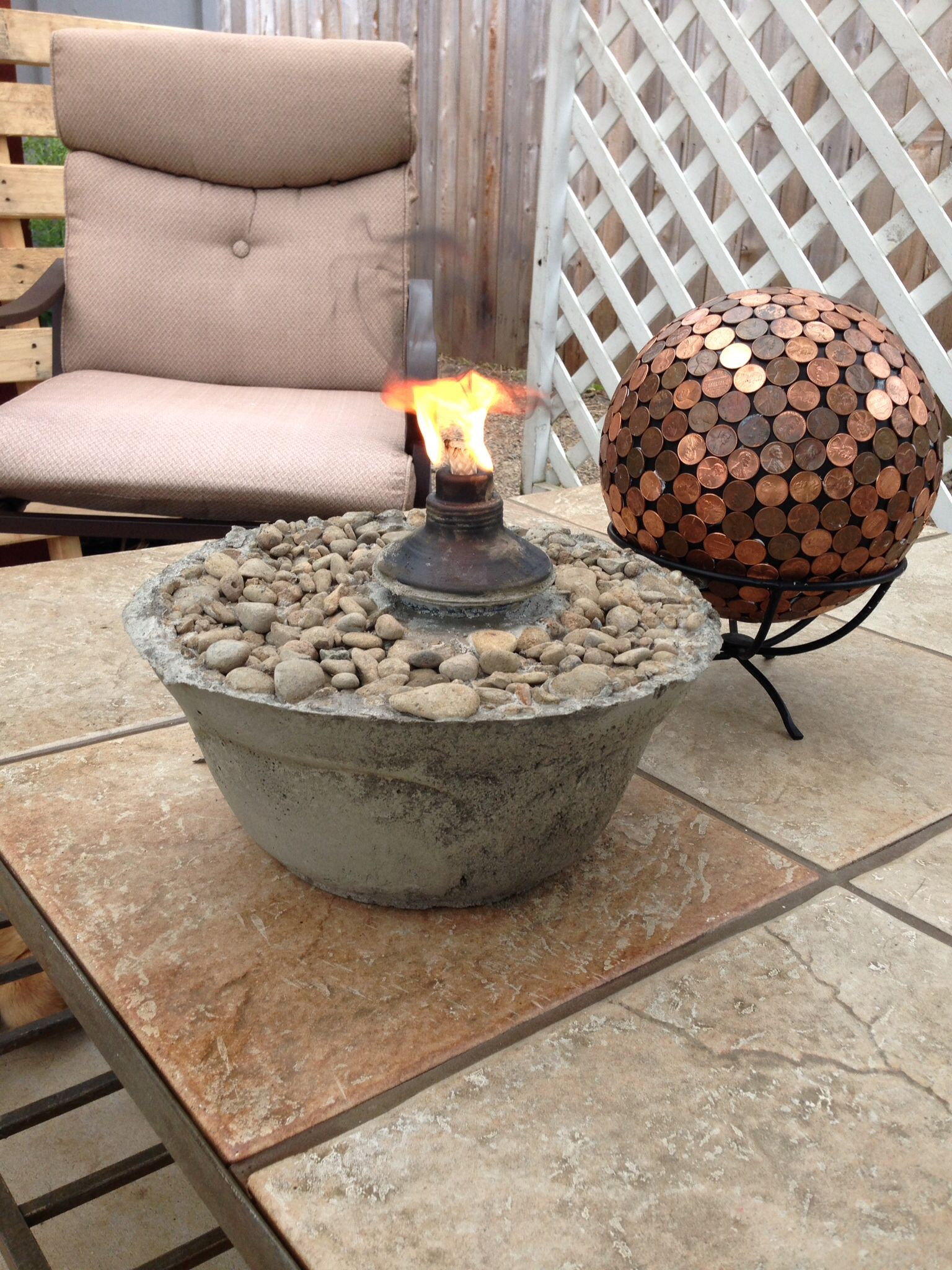 Mini Tabletop Fire Pit Old Or Inexpensive Bowl Coat Bowl Tiki Torch With Pam Fill With Cement Coat The Top Tabletop Fire Bowl Fire Pit Outdoor Fire Pit