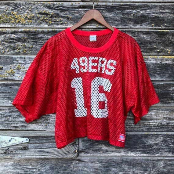 473715466 Vintage 49ers jersey 16 Joe Montana San Francisco niners mesh crop top red  white 80s football 1980s RARE jersey Sand-Knit McGregor L large