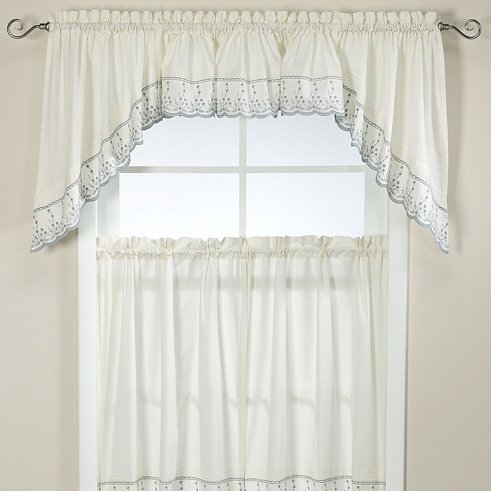 BLACK /& WHITE 6 PIECE SWAG /& VOILE PANEL CURTAIN SET ~ Many Sizes Available