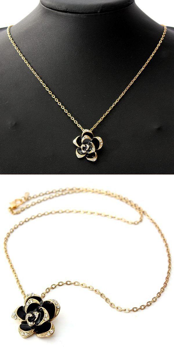 Black enamel rose flower chain pendant necklace women jewelr black enamel rose flower chain pendant necklace women jewelr necklaces pendants by shopshe pinterest pendants aloadofball Image collections