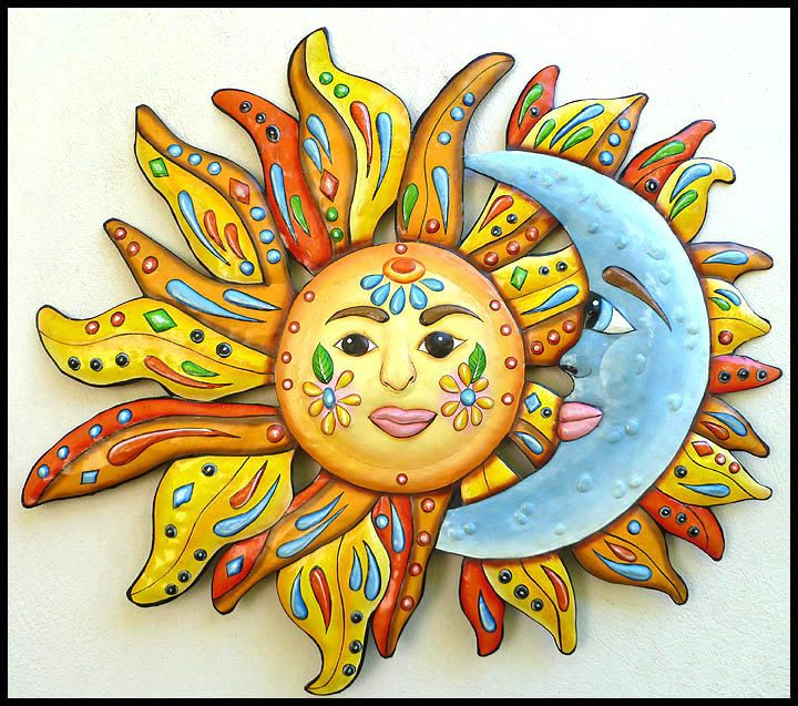 Metal Wall Art Sun, Painted Metal Wall Hanging, Sun - Moon - Funky ...