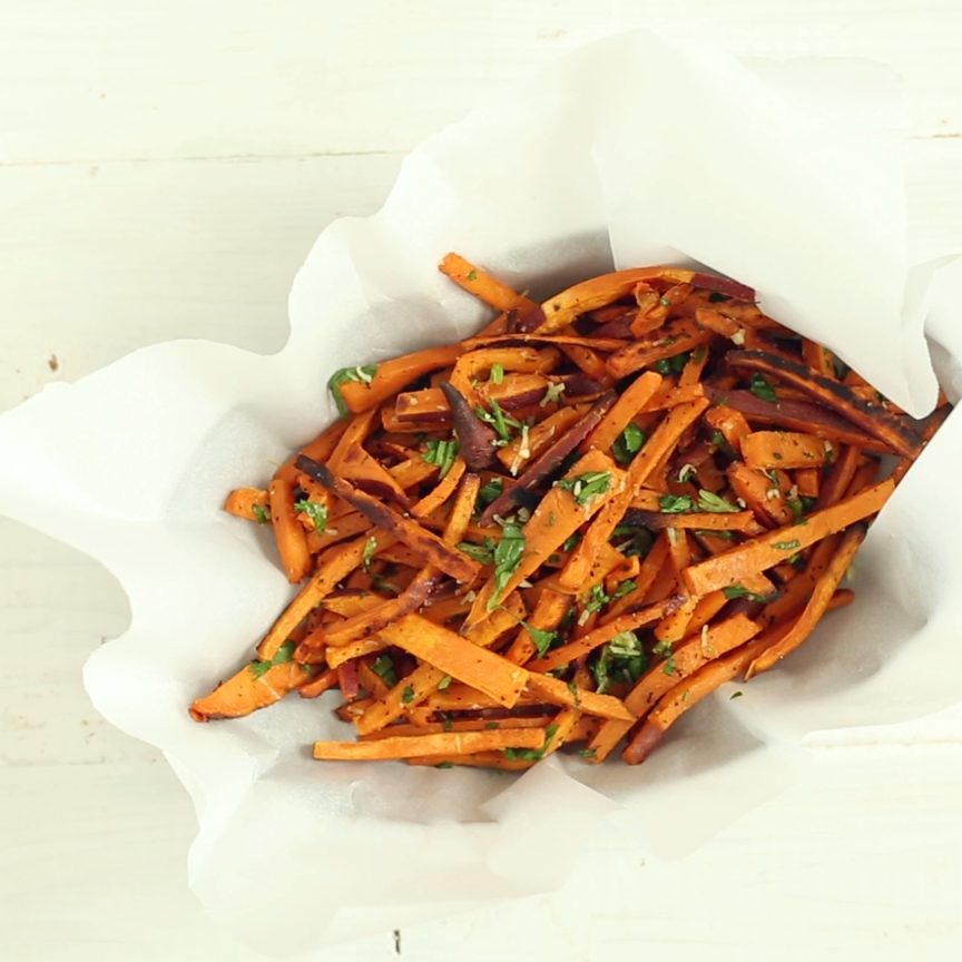 Garlic And Herb Sweet Potato Fries Video Recipe Video Sweet Potato Recipes Cooking Recipes Vegetarian Recipes