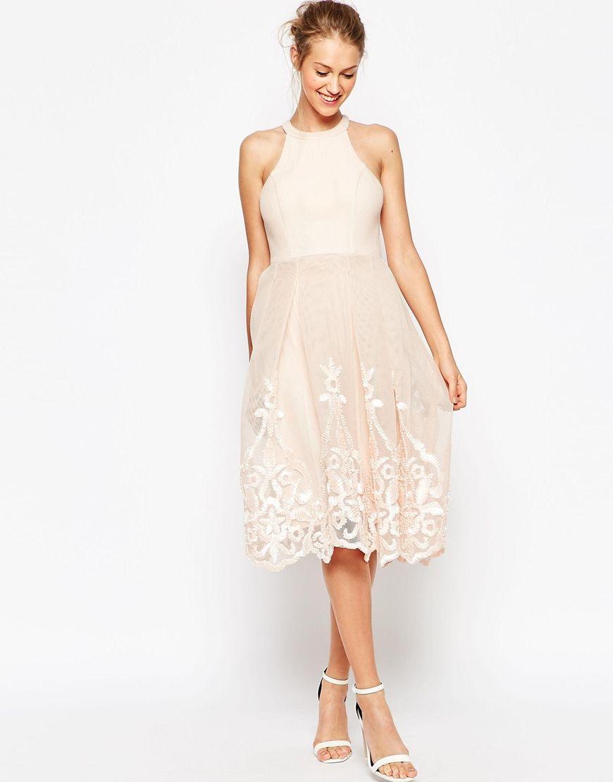 Image 2 Of ASOS Embroidered Floral Super Full Mesh Dress