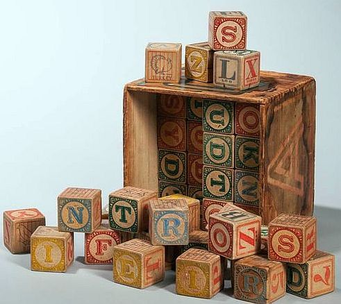 Boxed Set of Forty-eight Children's Alphabet Blocks, early 20th century.