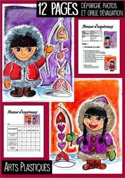 Projet d'arts plastiques pour l'hiver et la St-Valentin.  Pour les 3e année et plus. Vous aurez besoin de crayon de bois noir, de gouache en pain, d'une craie à tableau et de fusain. Le fusain n'est pas obligatoire. Démarche avec photo ainsi que grille d'évaluation incluse.