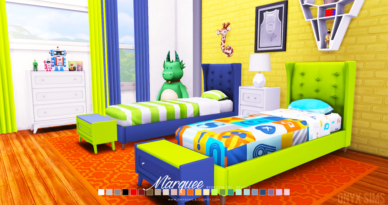 The Marquee Bedroom Set A 24 piece revision of an old bedroom set by the same name. I'd hope to improve on this set and that you will like this one better. I even included a double sized bed frame and...
