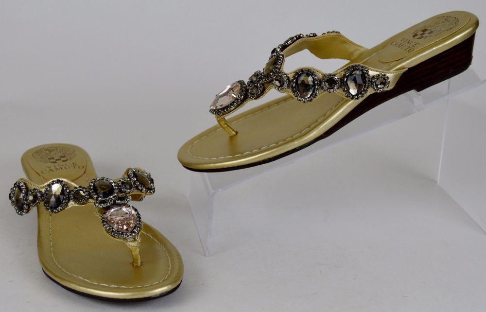 91da0d454bfe4a Vince Camuto Women s 6 M Gold Jeweled Wedge Flip Flops Used  VinceCamuto   FlipFlops  Casual