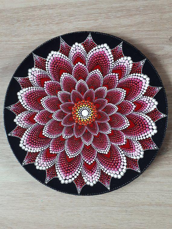 Red waterlily mandala designs. 3d dots, wall decor, door decor …