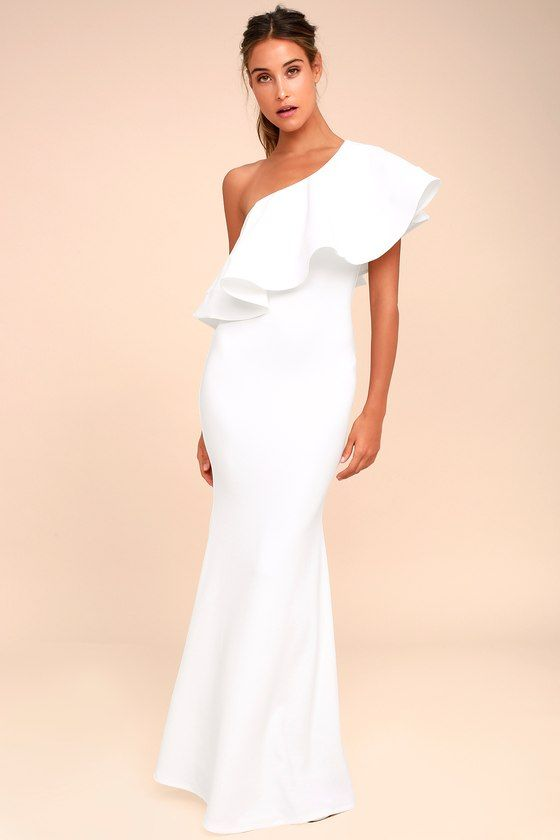 343068c606 The So Amazed White One-Shoulder Maxi Dress will stand out at any event!  Textured