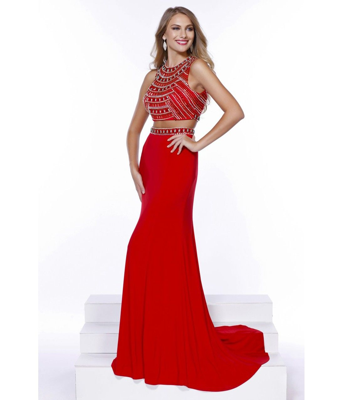 Red beaded two piece open back dress prom pinterest prom free