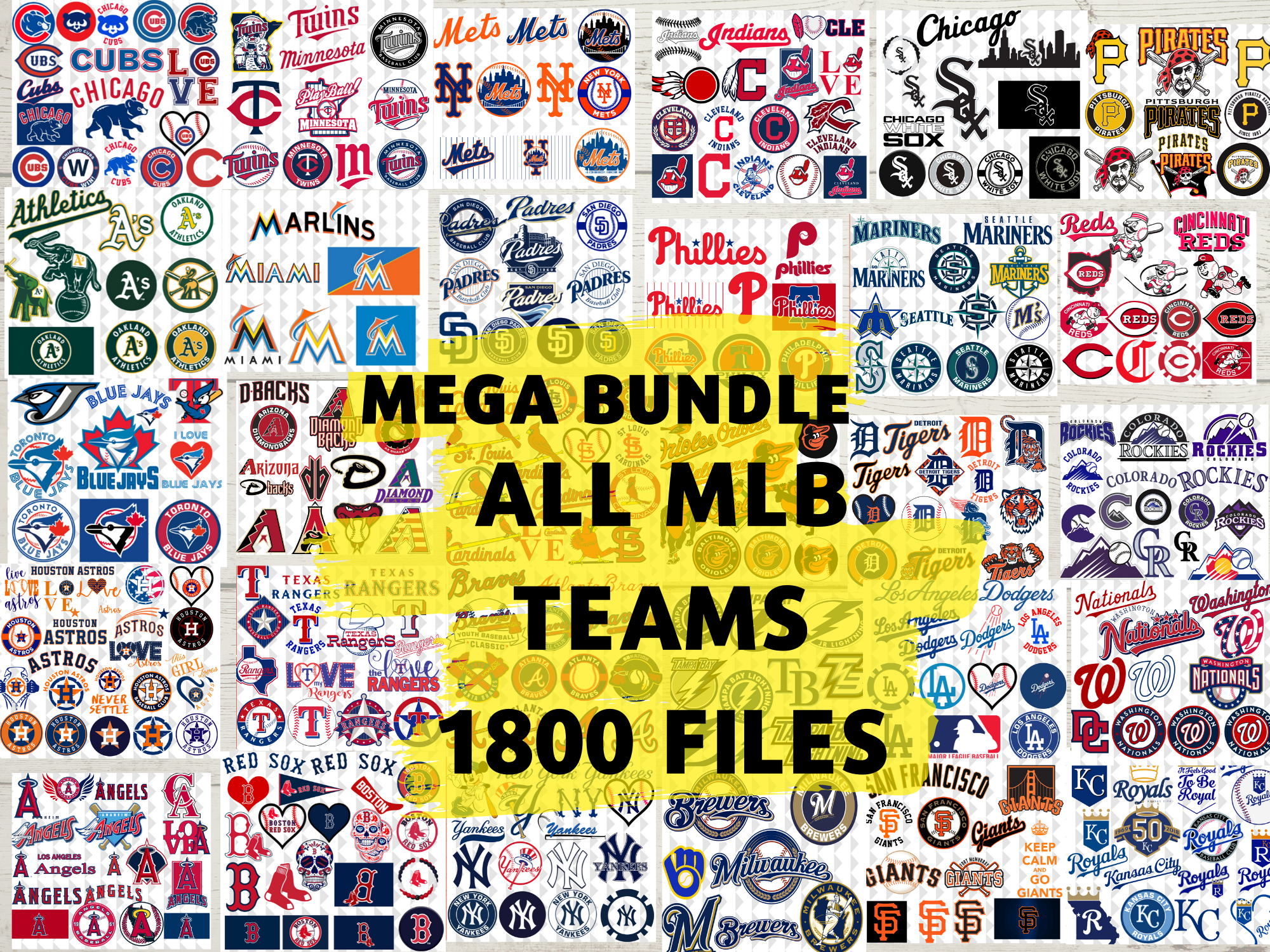 Clipartshop Bundle Baseball Team Bundle Of All Mlb Teams Clipart File Logo Teams Svg Files Png Files Dxf Files Ai Files In 2020 All Mlb Teams Mlb Team Logos Mlb Teams