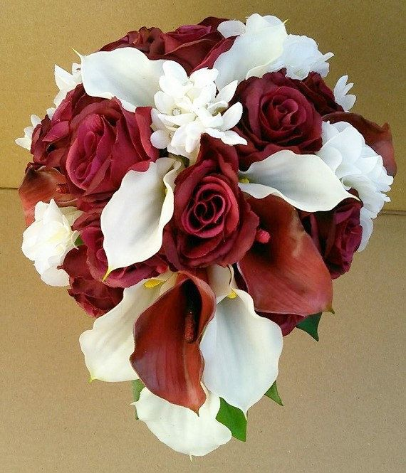 Burgundy Off-White Real Touch Calla Lily Silk Roses