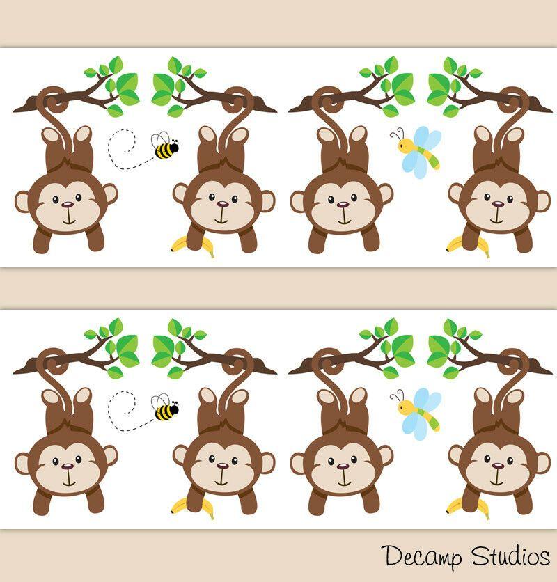 Safari Monkey Baby Boy Nursery Wallpaper Border Wall Art ...