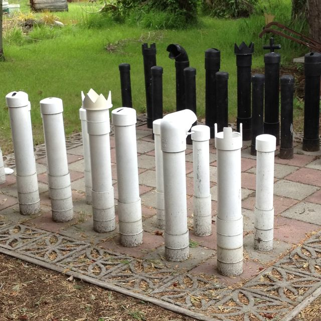 PVC Pipes And Garden Pavers For A Chess Set. Could Easily Add Clay Around  These For A More Detailed Piece Set