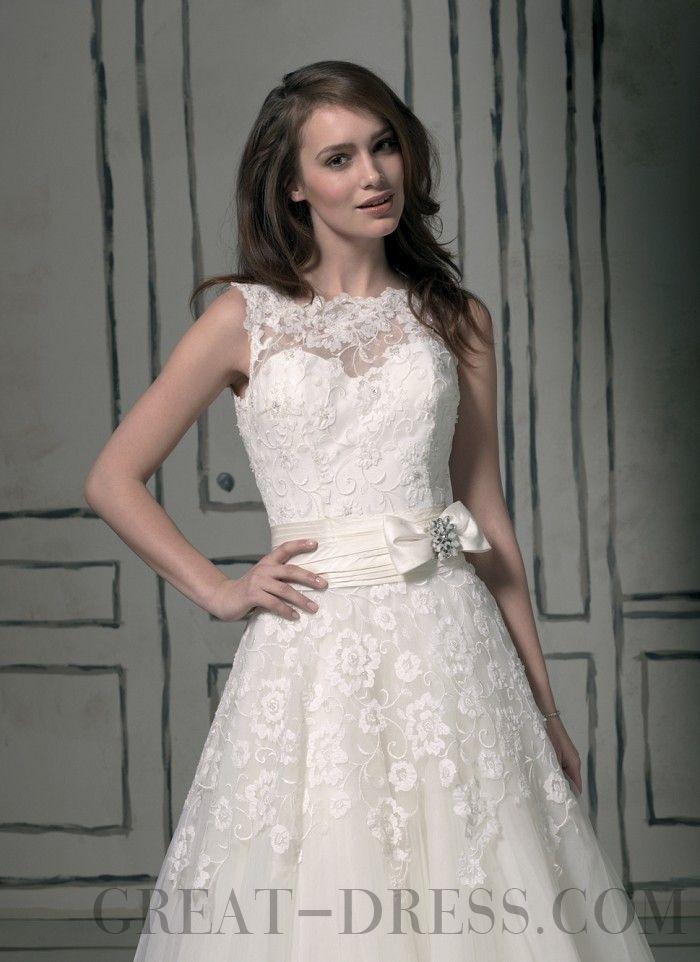 Sale Princess Ankle-length Bateau Tulle Wedding Dresses