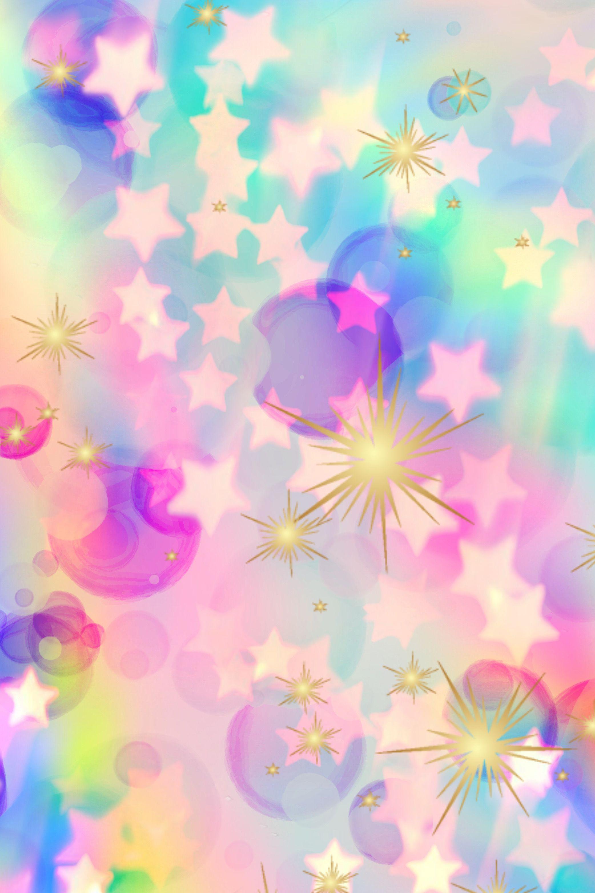 Confetti Explosion Wallpaper Glitter Sparkle Galaxy Stars Bokeh Bubbles Pattern Pastel Colorful Rainbow Cute Art Wallpaper Star Wallpaper Wallpaper