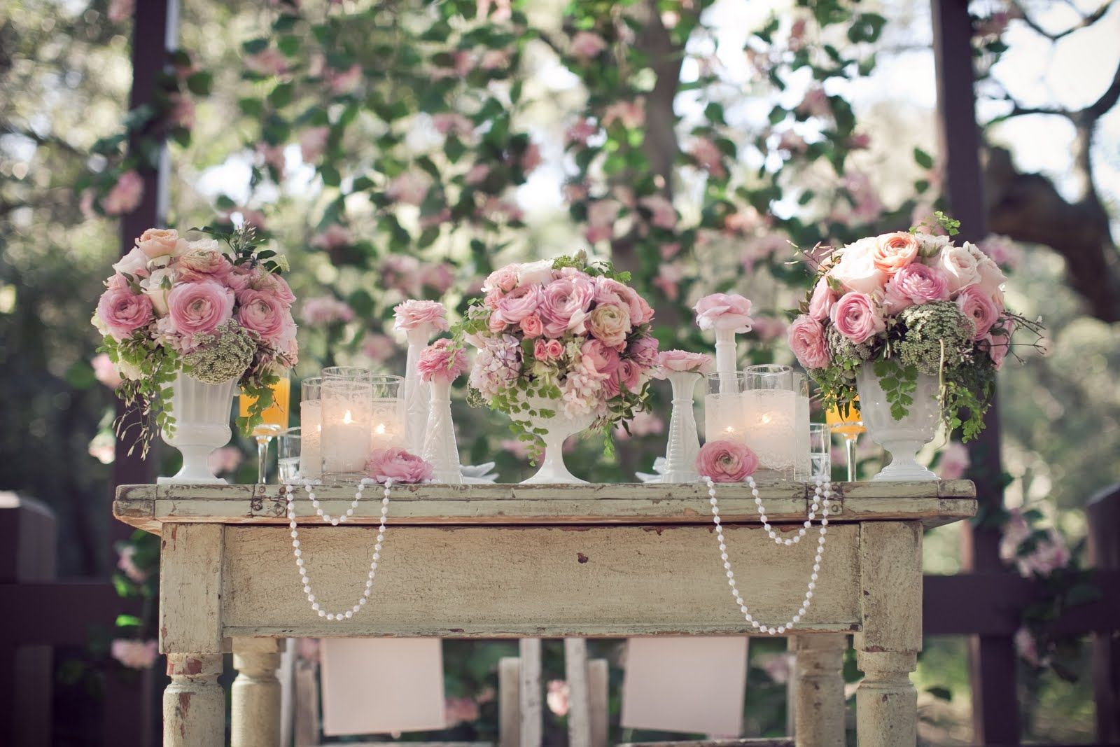Outside Country Wedding Centerpieces
