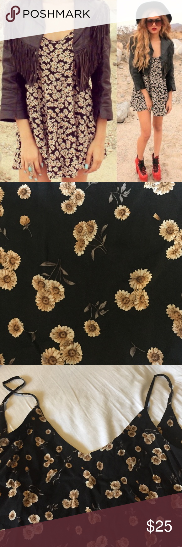 Brandy Melville brown daisy top Super cute brandy Melville dress top. Lightweight and perfect for the summer. Resembles jada dress. Back has a low v cut. Can be worn as a mini dress or long top Brandy Melville Dresses Mini
