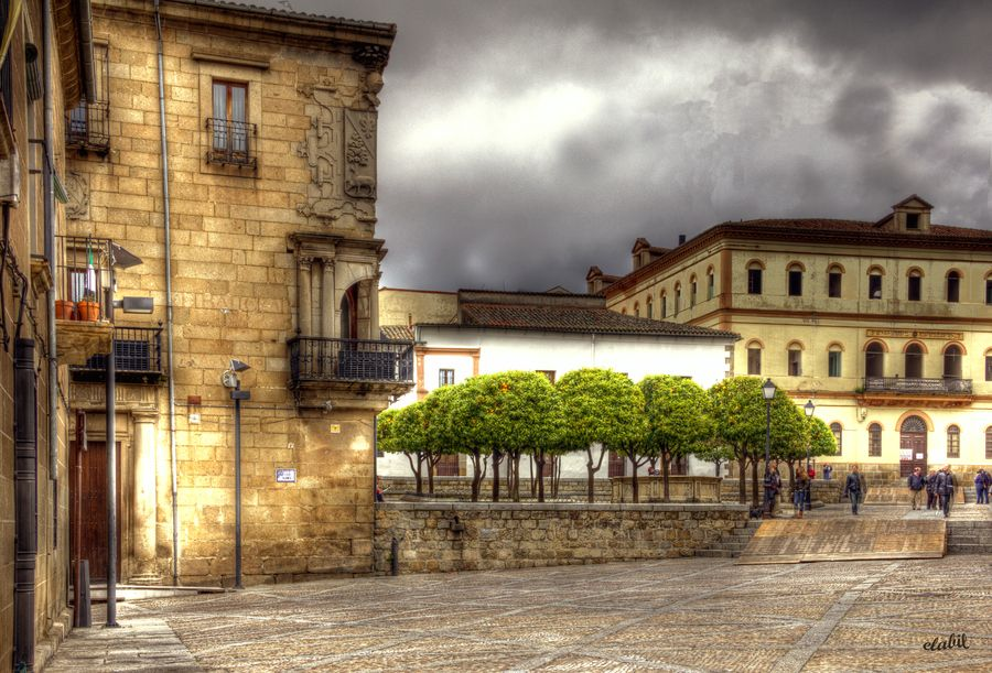 Plaza at the entrance of the cathedral of Plasencia, in Spain