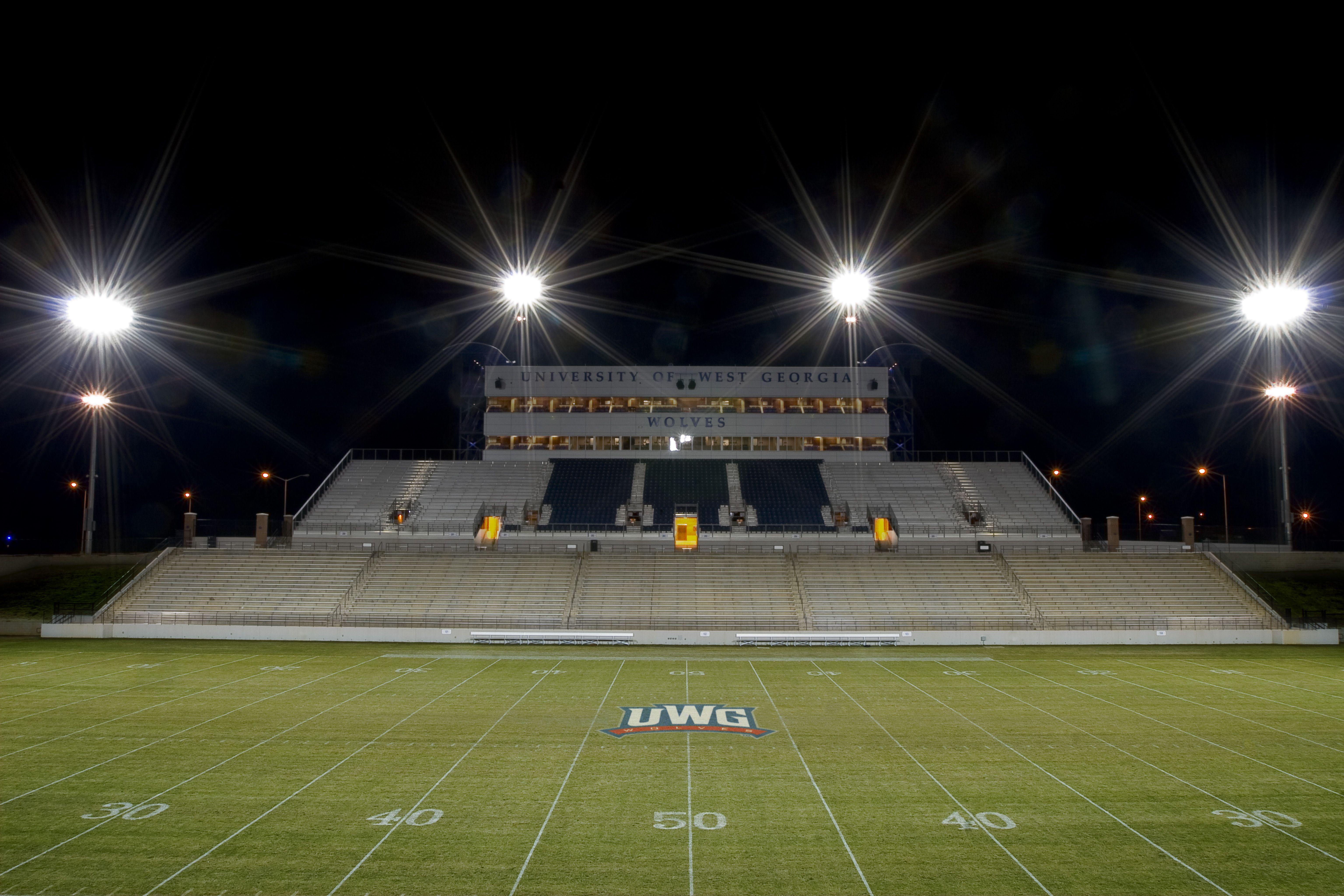 University Stadium At Night Is A Sight To Behold The Football Stadium Is The Centerpiece Of The University Of West Georgia College Football Stadiums Stadium