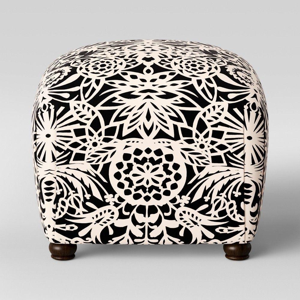Cool Poppy Ottoman Black White Floral Opalhouse White Black Evergreenethics Interior Chair Design Evergreenethicsorg