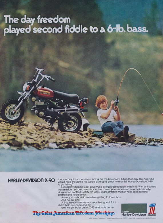 1973 Harley Davidson X 90 Motorbike Ad Boy Fishing Photo Etsy Amf Harley Harley Davidson Harley Dirt Bike