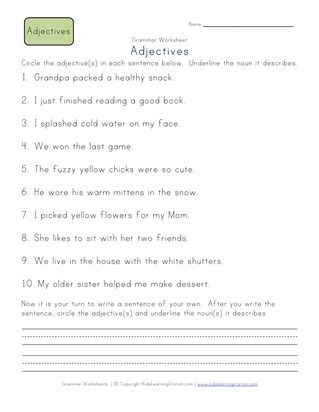 Second Grade Adjective Worksheets   All Kids Network ...