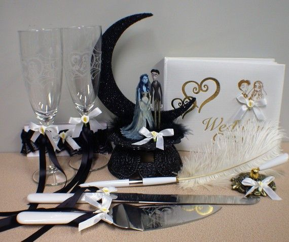 Corpse Bride Wedding Cake topper LOT Glasses by YourCakeTopper ...