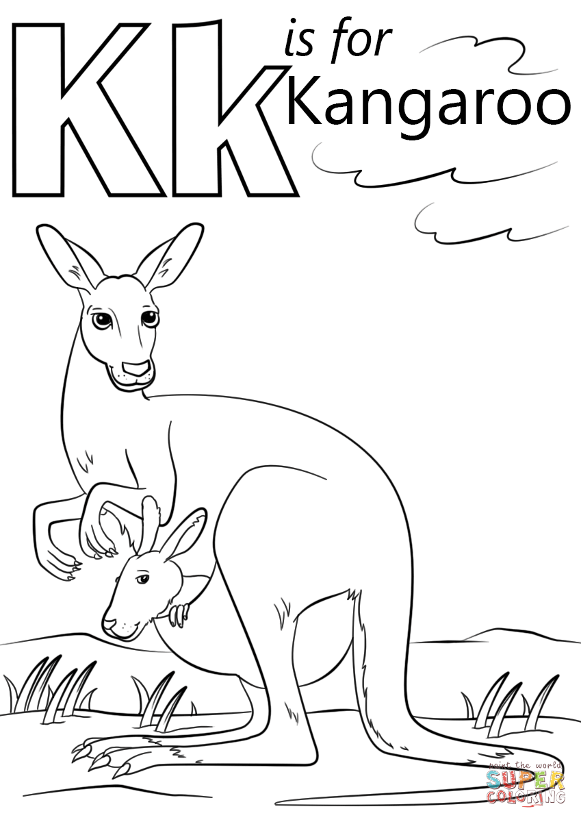 Letter k is for kangaroo preschool coloring page free printable
