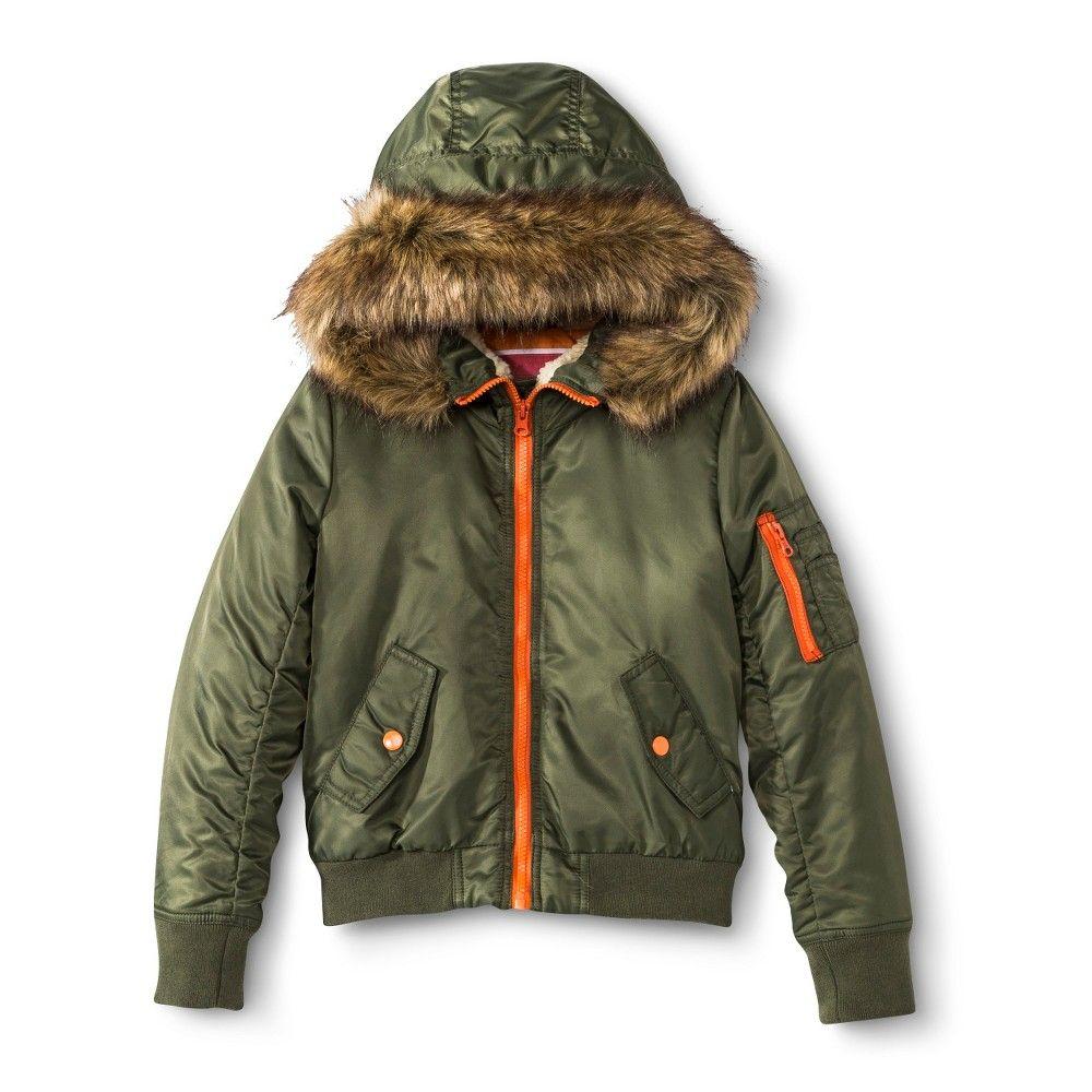 Olive green fur hooded jacket