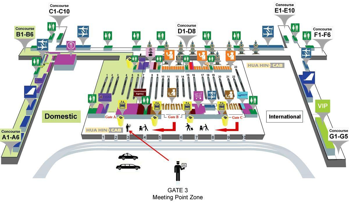 Meeting Point Zone At Suvarnabhumi Airport Floor Map