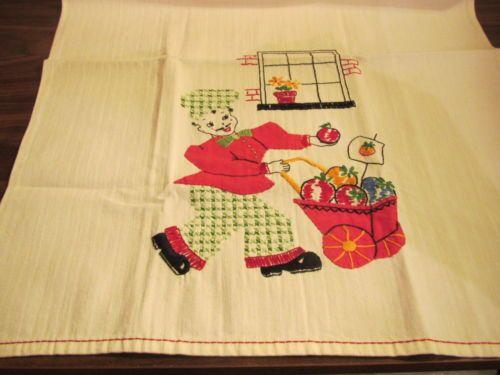 Vintage towel tea kitchen cotton hand embroidered applique street