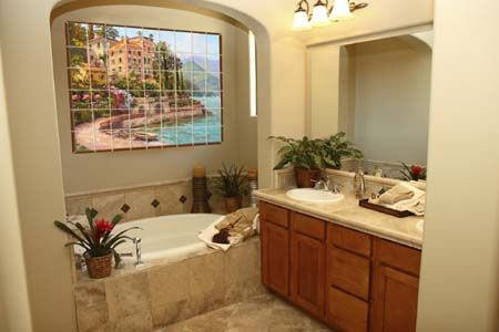 An Example Of Using Tile Murals As Bathroom (or Kitchen) Wall Art.
