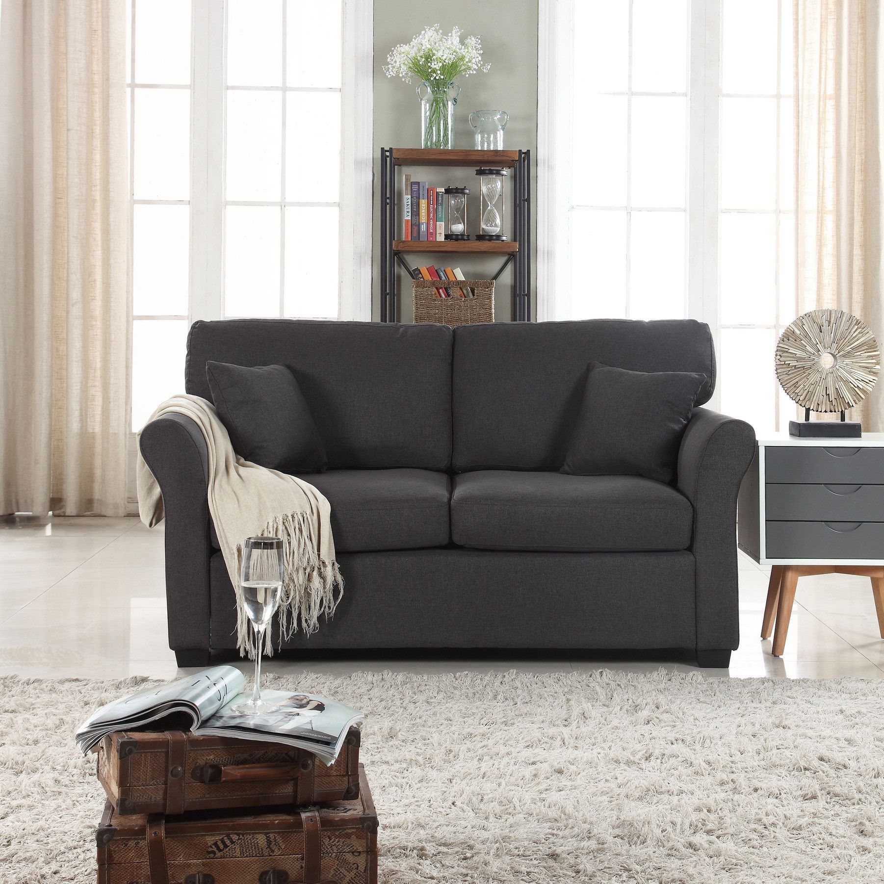 Gray Linen Furniture Set Sofa Loveseat Accent Chair: Fortunato Classic Low Wingback Linen Loveseat