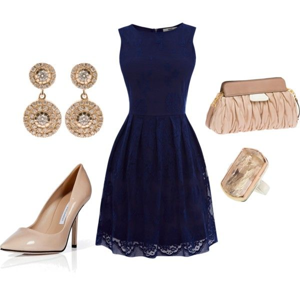 bbca669322d45 Navy and Champagne | Fashionista | Navy dress outfits, Blue dress ...