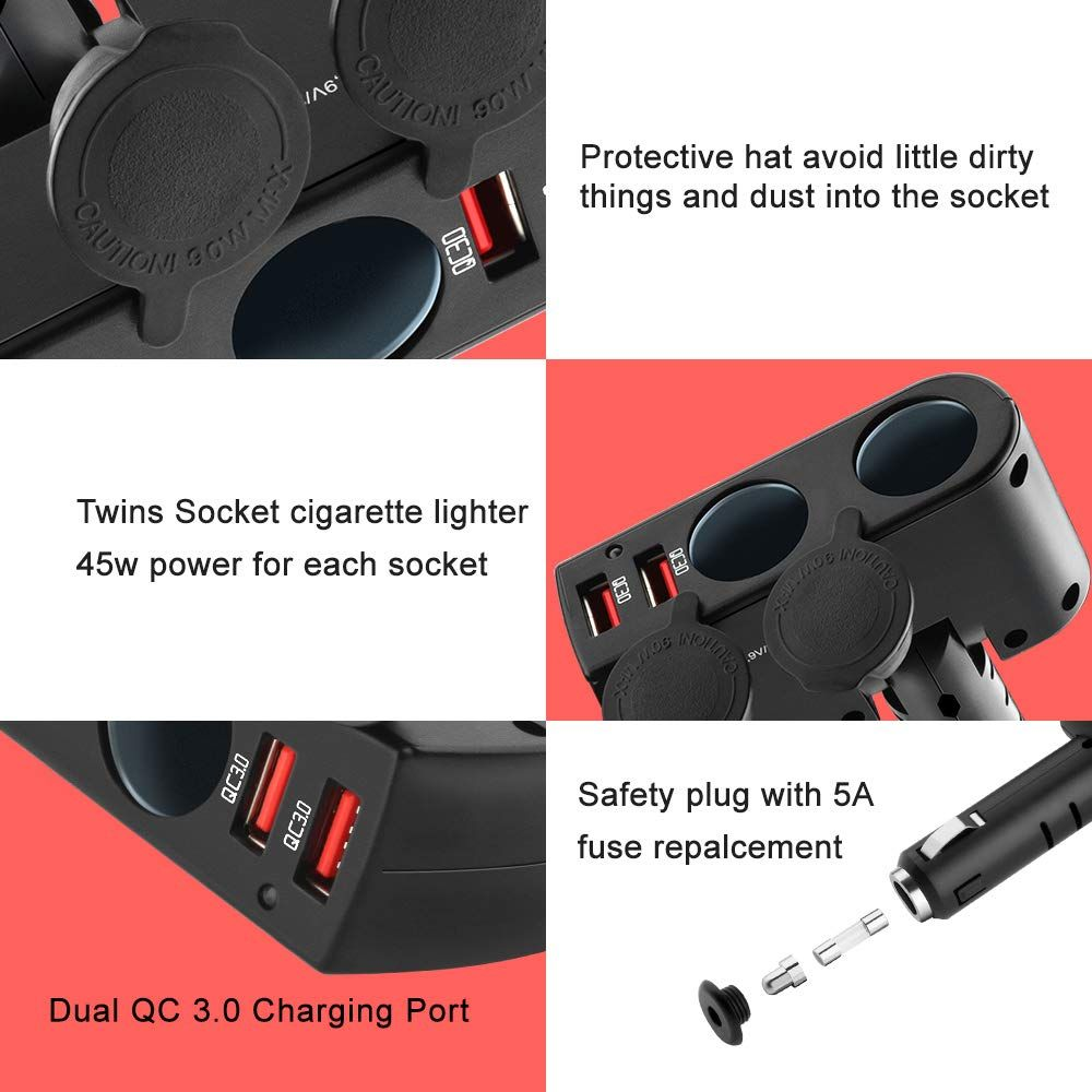 Opluz Qc3 0 Car Charger 4 Port Usb Quick Charge Cigarette Lighter Splitter