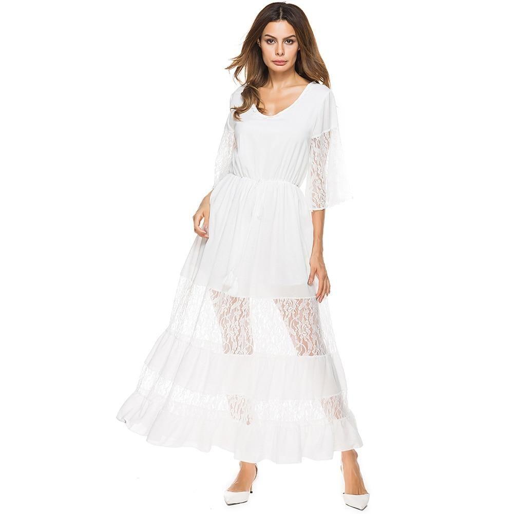 Sheer lace splice half sleeves vneck elastic wais long maxi dress