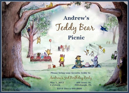 teddy bear picnic party – Teddy Bears Picnic Party Invitations