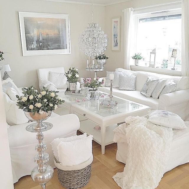 inspiring white shabby chic living room furniture | 37 White and Silver Living Room Ideas That Will Inspire You