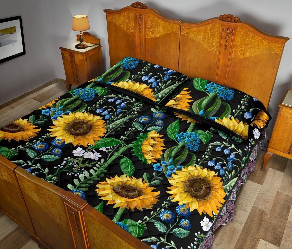 Pattern Print Sunflower Cartoon Bed Set Quilt