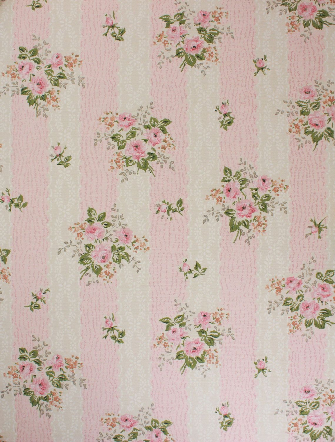 1950 S Vintage Wallpaper Pink Roses On Pink And By Rosieswallpaper Vintage Wallpaper Fabric Wallpaper Wallpaper Pink Cute