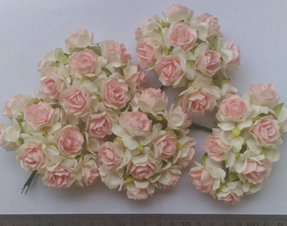 50 light brown color big mulberry roses paper flowers size 3 cm 12 50 pink white two tone color big mulberry roses paper mightylinksfo
