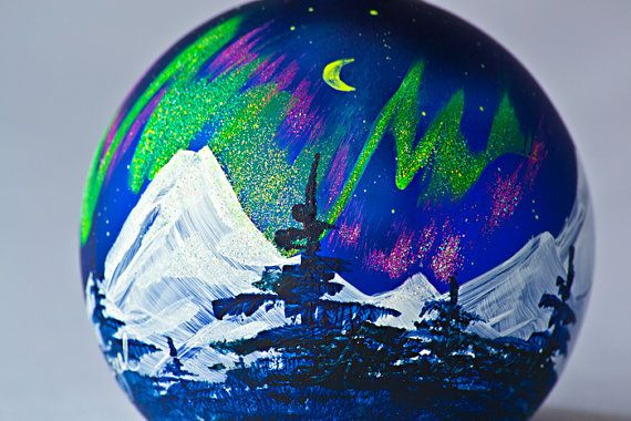 Northern Lights Handpainted Christmas Ornament Snow Dog Treasures