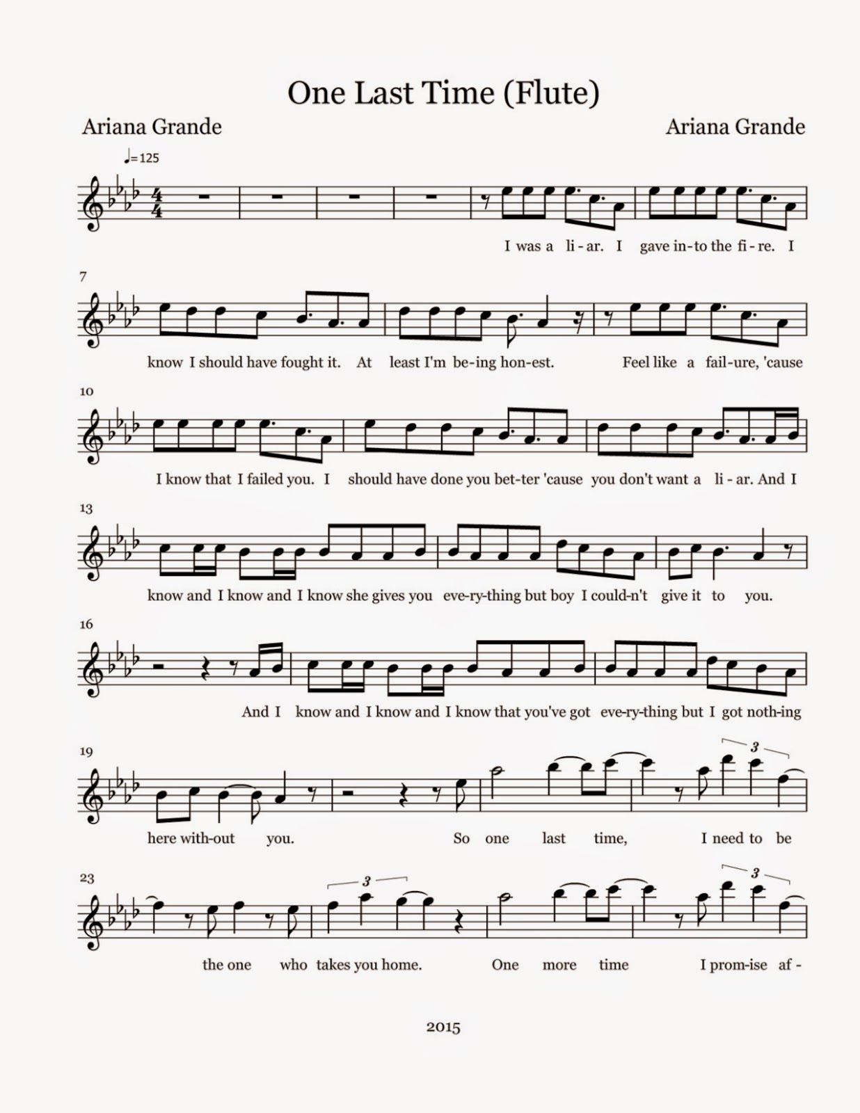 Flute Sheet Music One Last Time